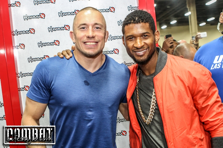 Usher meets Georges St Pierre at UFC FanExpo Day Two